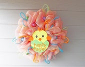 Pink and Yellow Deco Mesh Easter Wreath - NOLACraftsbyDesign