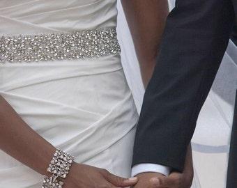 Rhinestone Floral Bridal Sash - Wedding Dress Belt