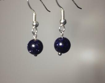 Purple Glitter Stone dangle earringd