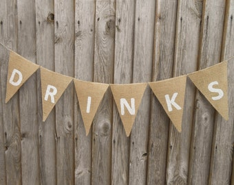 Drinks Banner Wedding Garland Celebration Wedding Drink Banner Drink Sign Burlap Banner  Birthday Banner Wedding Party Banner Wedding Banner