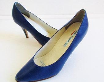 Vintage 1980's Blue Leather Heels Sz 4
