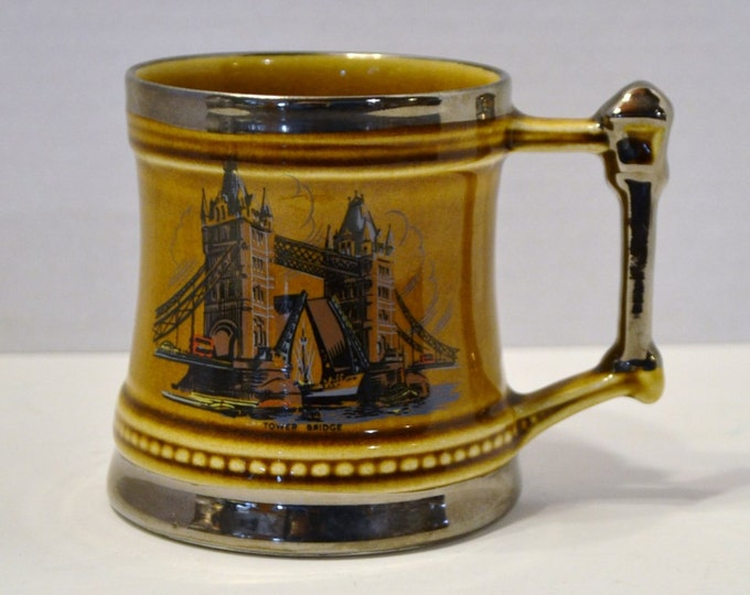 Vintage London Bridge Mug Britannia Designs Dartmouth England Souvenir Mug Pottery Treacle Glaze PanchosPorch
