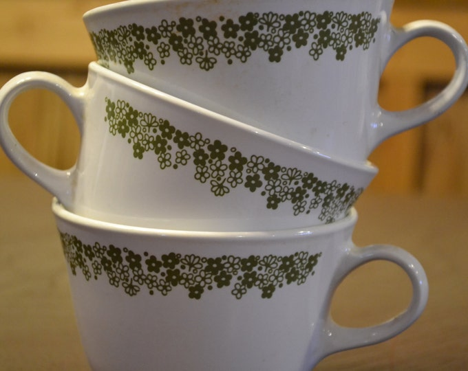 Vintage Corelle Cup Set of 3 Green Spring Crazy Daisy Pattern Replacement PanchosPorch