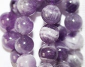 """Genuine Amethyst beads - Round 8 mm beads, Semi Precious Gemstone Beads - Full Strand 15"""", 49 beads"""