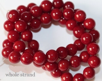 "Red Coral Beads - Round 7 mm Gemstone Beads - Full Strand 16"", 56 beads, A-Quality"