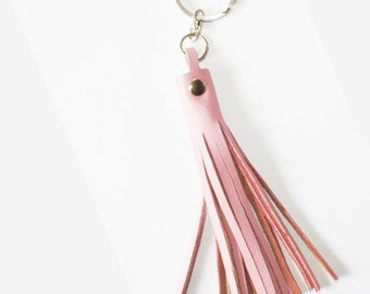Pastel Pink Leather Tassel Keychain