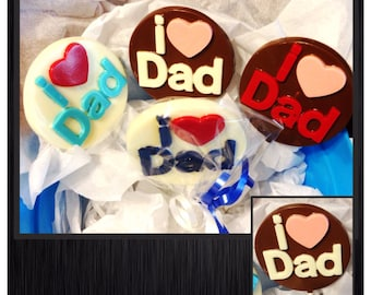 Dad, I love Dad Chocolate Lollipops - Set of 10 Father's Day chocolate