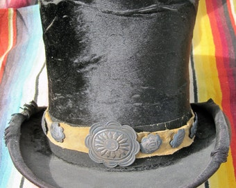 Antique Silk Top Hat With Authentic Navajo Concho Hat Band