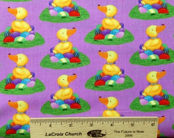 Easter Chicks cotton fabric Hallmark Duck N Eggs, HM59 Lavender purple Novelty fabric by the yard 100% cotton fabric