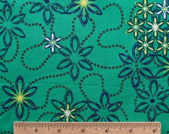 Design Loft freespirit fabric Garden Promenade PWFS012 Bayou green yellow blue flowers floral sewing quilting 100% cotton fabric by the yard