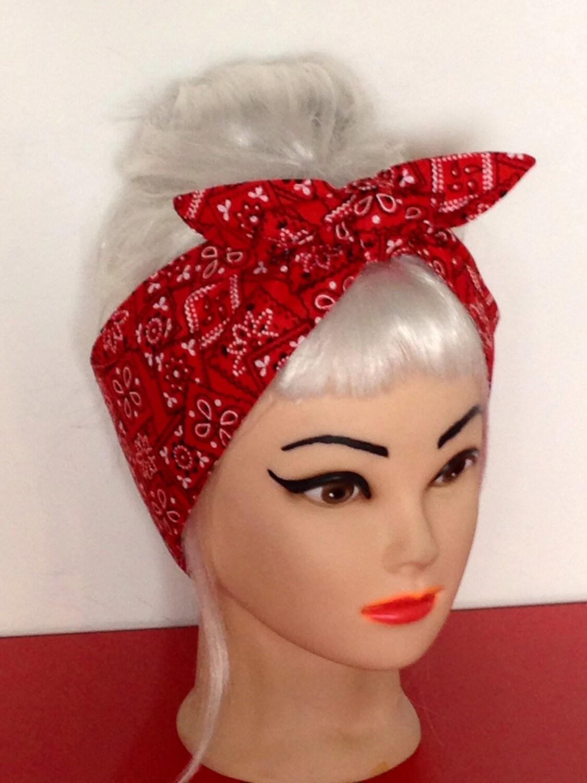 Head Scarf Red Bandana Print Headband Pinup Vintage Retro
