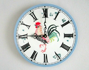 French Country Wall Clock - Blue and White Farmhouse Wall Decor with Rooster - Unique Wall Clock - Upcycled Wall Art