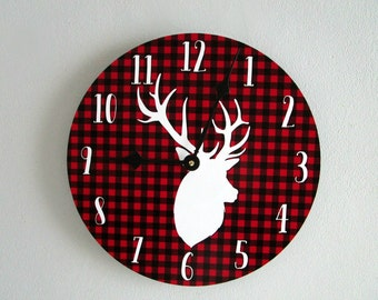 Wall Clock - Buffalo Plaid Rustic Wall Clock - Deer Head Woodland Wall Clock - Red Cabin Decor - Rustic Wall Decor - Unique Wall Clock