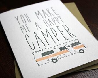 Letterpress Love and Camper Card - Valentine's Day