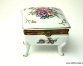 Vintage Jewelry Box, White Porcelain Jewelry Trinket Box with Colorful Floral Design on Lid - Jewelry Box for Women
