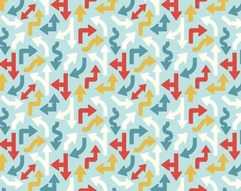 SALE!! Fat Quarter Cruiser Blvd - Arrows in Blue - Cotton Quilt Fabric - Sheri McCulley Studio for Riley Blake Designs (W789)