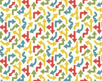 SALE!! Fat Quarter Cruiser Blvd - Arrows in White - Cotton Quilt Fabric - Sheri McCulley Studio for Riley Blake Designs (W791)