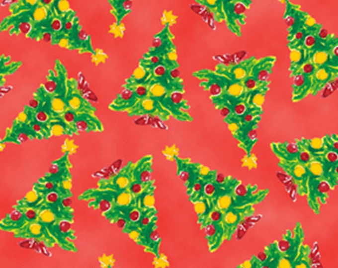 Half Yard More Elf on the Shelf - Christmas Trees in Red - Cotton Quilt Fabric - from Quilting Treasures (W1984)