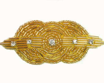 Gold Art Deco Hair Clip, Rhinestone Bridal Comb, 1920s Headband Beaded Hairpiece