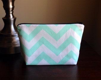 Makeup bag, cosmetic case, zipper pouch, clutch - Mint Green Chevron