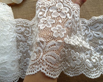 2 Yards White Floral Scalloped Stretch Lace Shiny wide Elastic Lace Trim For Clothing, Boot Cuffs, Lingerie, Headbands
