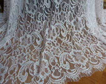 White Embroidered Fabric, Chantilly Lace Fabric, White Wedding dresses Lace Fabric By The Yard