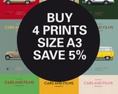 Discount Set - Inspired Movie posters - Any 4 Prints A3 - Save 5% - Size A3 - Carsandfilms