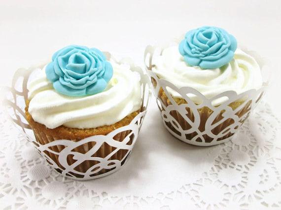Sugar Flowers Blue Fondant Roses Wedding Cake Fondant