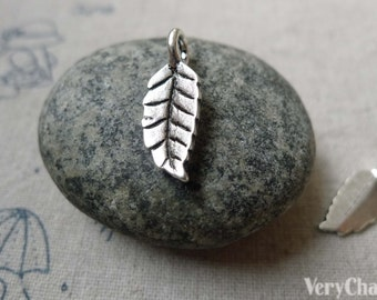50 pcs Antique Silver Tree Leaf Charms 8x15mm  A6344