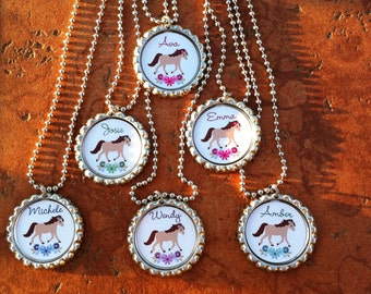 Set of 6 Personalized Horse Lovers Inspired Party Favors Bottle Cap Necklaces OR Zipper Pulls - YOU CHOOSE