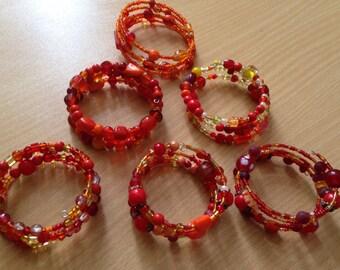 Orange memory wire bracelet