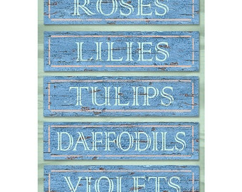 Garden Flowers Wood Look Wall Decal #46706