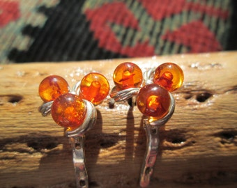 Amber Colored Beads and Sterling  Earrings