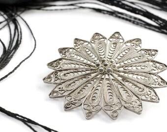 Antique Silver Filagree Flower Brooch Pin