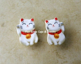 Good Luck Kitty Post Earrings New Years Cat