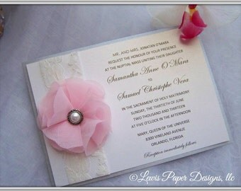 Vintage Pink and Silver Wedding Invitation/ Pink and Silver Lace Wedding Invitation/ Pink Silver Ivory Invitation