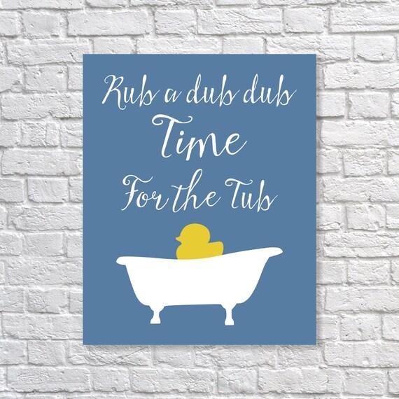 Bathroom decor rubber duck bath time art print 39 rub by for Bathroom duck decor