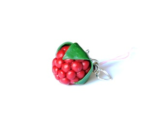 Raspberry Charm, Polymer Clay Charm, Cell Phone Charm, Polymer Clay Raspberry, Polymer Clay Key Chain Charm, Berry Charm, Red Charm