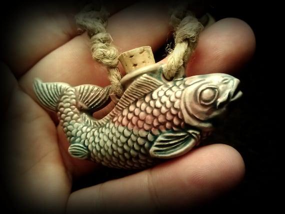Koi fish raku vial pendant on macram natural hemp necklace for Koi fish beads