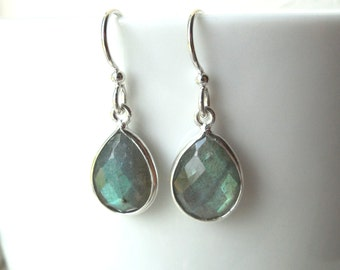 Labradorite Silver Earrings, Teardrop Dangle, Faceted Labradorite Sterling Earrings
