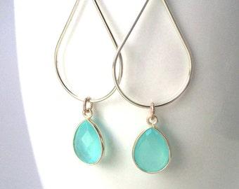 Aqua Chalcedony Silver Earrings, Aqua Sterling Teardrop Hoop Earrings, Aqua Mint Chalcedony Earring,