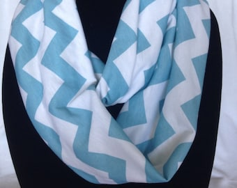 Infinity Scarf, Blue and White Chevron