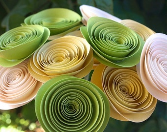 Zesty Green, Yellow and Cream Paper Flowers / Paper Rose