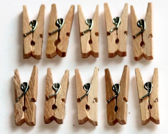 20 Mini Clothes Pegs - 25mm - Natural Wood - Wedding Favor - Gift Card Holder - Wooden Clothespins - Miniture Pegs - OC16
