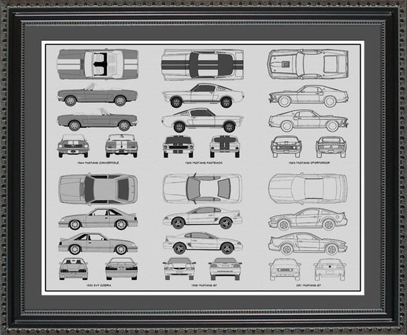 Ford mustang blueprint collection drawing art car auto gift like this item malvernweather Choice Image