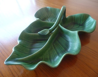 Large Green Leaf Serving Tray or Platter Mid Century Modern Ceramic Pottery Platter Decorative Display Tray