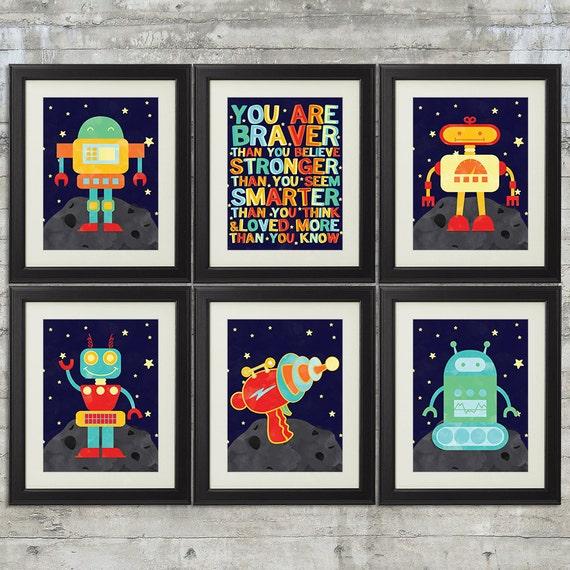 Robot Nursery Art Kids Wall Art Space Nursery Art Set Of