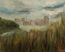 SALE Original oil painting, Swedish side grey sky clouds lake water grass flowers yellow green olive autumn swedish landscape oil on canvas