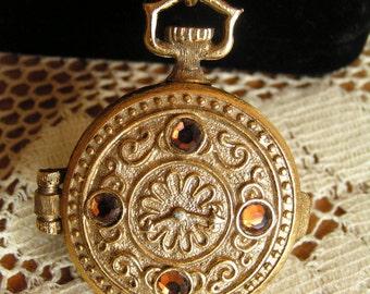 Vintage Rootbeer Color Rhinestone Gold Tone Pocket Watch Solid Perfume Locket Pendant Necklace Watkins Products Inc