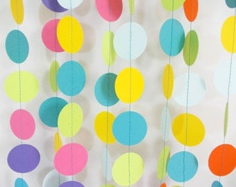 Party Paper Circle Garland, Rainbow Garland, Birthday Party Decoration, Confetti Garland  12'